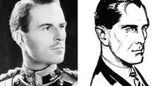 Conrad O'Brien-ffrench, left, alongside a sketch by Ian Fleming of what he envisioned James Bond would look like.