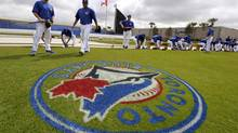 The new Blue Jays logo painted on the practice field at the team's spring training facility in Dunedin, Florida, February 22, 2012. (MIKE CASSESE/REUTERS)