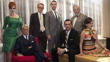 "The cast of ""Mad Men,"" from left, Christina Hendricks, John Slattery, Jared Harris, Vincent Kartheiser, Jon Hamm, Robert Morse and Elisabeth Moss. (Frank Ockenfels/CP)"