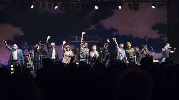 Cast of the musical Come From Away wave to the matinee audience in Gander, N.L. on Oct. 29.