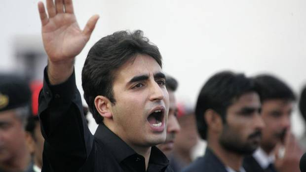 Bilawal Bhutto Zardari, son of assassinated former Pakistani prime minister Benazir Bhutto, makes a speech to launch his political career during the fifth anniversary of his mother's death, at the Bhutto family mausoleum in Garhi Khuda Bakhsh near Larkana, December 27, 2012.
