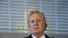 Quebec Premier Jean Charest responds to a question during a news conference in Montreal on Wednesday, August 8, 2012. (Paul Chiasson/THE CANADIAN PRESS)